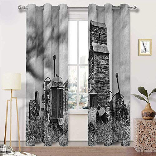 "igoga sports Bedroom Curtain Industrial Soundproof Window Curtain Panels Old 60s Abandoned Tractor in Farm in Central Canada Nostalgic Machinery Elements Image 2 Grommet Curtain Panels, 27"" W x 45"" L"