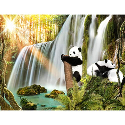 Tapeten Fototapeten Wasserfall Panda - Vlies Wand Tapete Wohnzimmer Schlafzimmer Büro Flur Dekoration Wandbilder XXL Moderne Wanddeko - 100{d6f25b6bf5853f72ed801df2270929da32378c9be4cfce8ee5c5973daae0272b} MADE IN GERMANY - 9393010a
