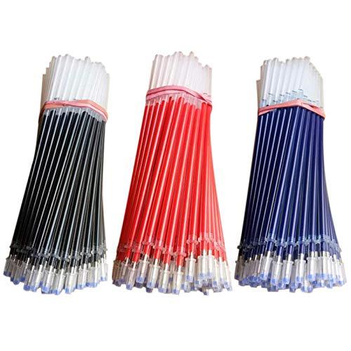 Maydahui 100PCS Gel Pen Refills 3 Colour Black Blue Red Ink Metal Tip Bullet for School Student Office Hospital
