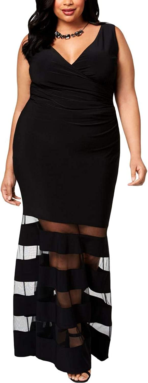 Betsy & Adam Womens Plus MeshStripe Sleeveless Evening Dress