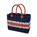 Nuokix Picknicktasche blau Warenkorb Buy Gemüse Basket handgemachter Kunststoff Woven Strand Badezimmer Badekorb Picknickkorb Picknicktaschen Küche Storage
