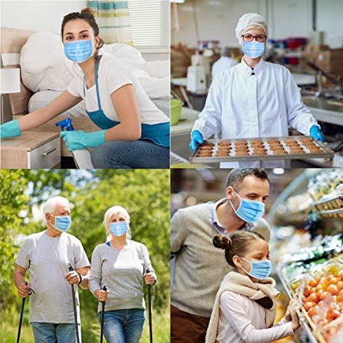 50 Einweg-Gesichtsmasken | Mund-Nasen-Bedeckung mit 3-lagigem Mundschutz, elastischem Gummizug und bequemem Universaldesign für Erwachsene - 4