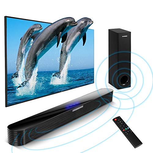 Sound bar with subwoofers,140W 2.1CH Bluetooth Soundbar Powerful Output Home Theater Surround Sound Support Optical AUX USB Coaxial (Wired Subwoofer, Wall Mountable, DSP, Bass Adjustable)