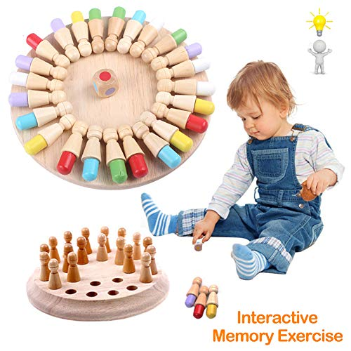 Wooden Memory Matchstick Chess Game Funny Block Board GameMemory Chess Toy Brain Teaser for Boys and Girls Age 3 and Up