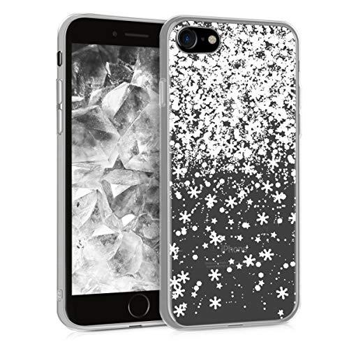 kwmobile Cover Compatibile con Apple iPhone 7/8 / SE (2020) - Custodia in TPU Silicone per Cellulare - Snow & Stars Bianco/Trasparente