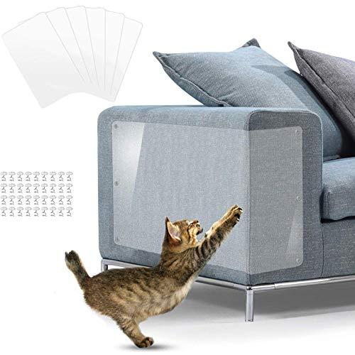 Protectores contra rayones para muebles,Protector Sofa Gatos,Protector de Muebles de Gato, Transparente con pasadores para Proteger Muebles tapizados, (6 Unidades)