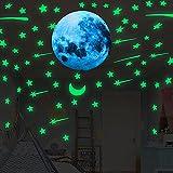 109 Pegatinas Fluorescentes Luna+Estrellas, Decorativas Pegatinas Luna Estrellas, Luminosas Pegatinas de Pared para Techo/Habitación Niños. (Luna Azul+Estrellas Verde)