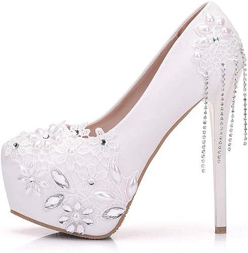 Moojm mujeres Tacones Altos Sandalias Perlas blancoas Rhinestones Encaje zapatos De Boda Cena Toe zapatos De Novia,blanco,EU35