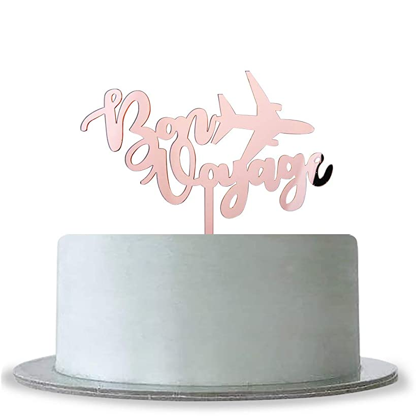 Mirror Rose Gold Bon Voyage Cake Topper Moving Away, Travel Theme,Retirement Party Decoration Supplies