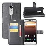 HualuBro Alcatel A3 XL Hülle, Premium PU Leder Leather Wallet HandyHülle Tasche Schutzhülle Flip Hülle Cover mit Karten Slot für Alcatel A3 XL Smartphone (Schwarz)