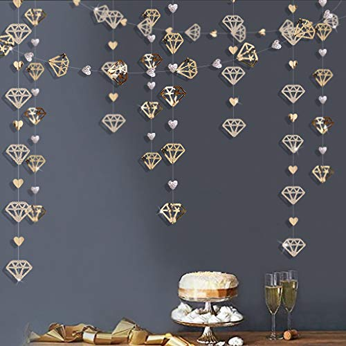 52 Ft Champagne Gold Diamond Heart Garland Glitter Metallic Paper Hanging Streamer for Engagement Anniversary Mother's Day Bachelorette Wedding Bridal Shower Hen Birthday Valentines Party Decorations