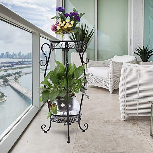 DD&Eren Soporte para Plantas Estante de Hierro para macetas de 2 Niveles para balcón Interior al Aire Libre, Sala de Estar, Soporte de exhibición de Plantas (Negro),22 * 36 * 66cm