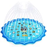 Splash Pad, 68'' Summer Outdoor Water Toys Sprinkler for Kids Splash Play Mat & Wading Pool for Fun Games Learning and Party 1-12 Years Old Boys Girls