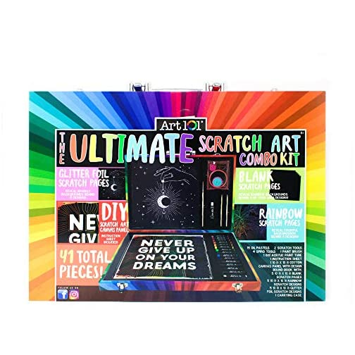 Art 101 USA Ultimate Scratch Art Combo Kit with 41 Pieces in a Colorful Carrying Case, Multi |