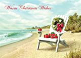 18 Christmas Cards and Envelopes, Airondak Chair on Beach with Magnolia Wreath and Presents