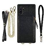 Samsung Galaxy Note10 Plus Wallet Case, ZVE Case with Crossbody Chain Strap Credit Card Holder Zipper Handbag Purse Wrist Strap Print Cover for Galaxy Note 10 Plus 5G (2019), 6.8 inch - Black