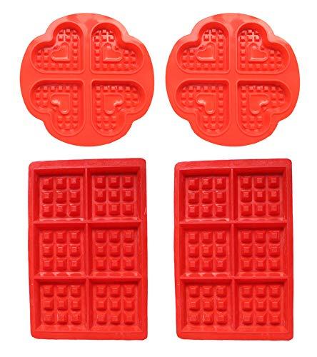 Miotlsy Waffeln Formkuchenform Silikon Waffelform Backform Waffel Kuchenform Tortenform Eiswürfel Brotform Förmchen Backformen 4pcs