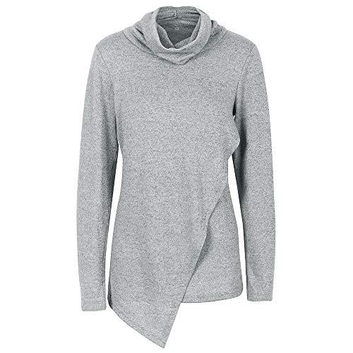 x8jdieu3 Herbst weiche beiläufige lose Normallack langärmelige Hoodie weiblichen hohen Kragen Pullover unregelmäßigen Boden Hemd Jacke Manteltasche