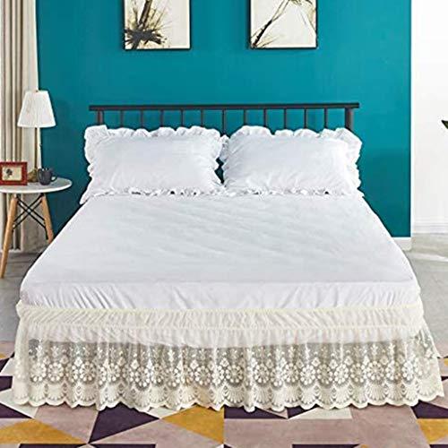 Falda de Cama 150/135/90/180cm Volantes elástica Falda de Cama 38cm Bedding Ruffled Bedskirt (Color : Beige, Size : 180 * 200+38cm)