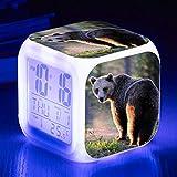 Wake Up Lights USB Brown Bear LED Reloj Despertador 7 Colores Lámpara De Estado De Ánimo Brillante Reloj Despertador Digital Para Niños Regalo De Cumpleaños Multifunción Relojes Electrónicos RelojD