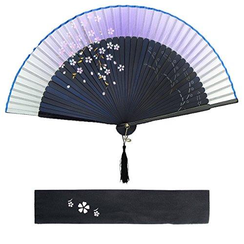 Dazone Asiatischer fächer Handfächer Faltbar aus Bambus Japanisch Kirschblüten fächer Faltfächer Hochzeit Party Deko Weihnachten Geschenk Damen - Violett