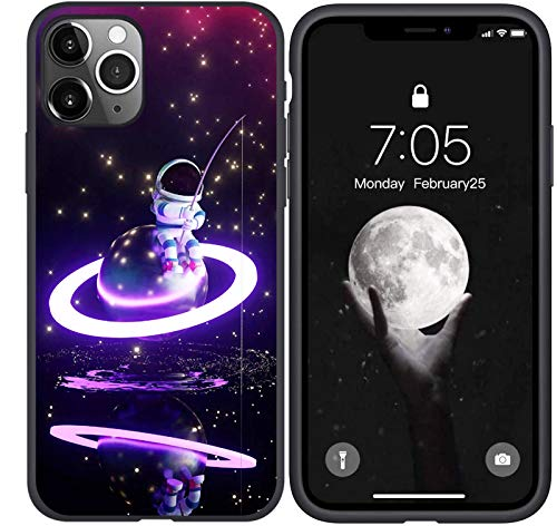 Compatible with iPhone 11 Pro Max Case, Astronaut Fishing on Purple Planet Designed for iPhone 11 Pro Max Case, Slim Fit Drop Protection Phone Case for iPhone 11 Pro Max 6.5 inch (Astronaut)