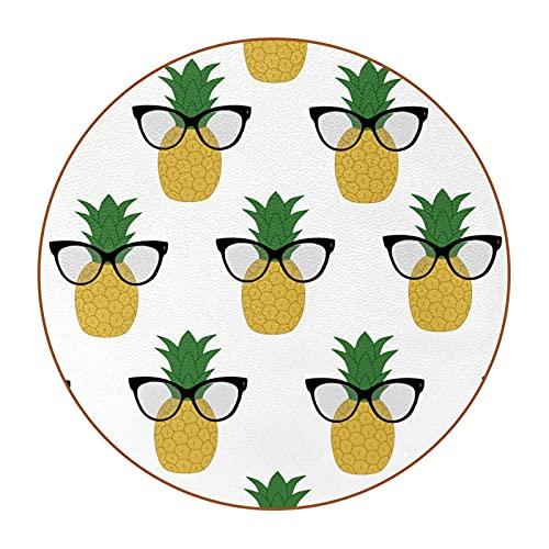 Juego de 6 posavasos para bebidas, diseño retro de piña con diseño de gafas, posavasos redondos, resistentes al calor, reutilizables para el hogar, restaurante, oficina y bar, 10,4 cm