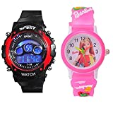 Capture Fashion™ Kids Digital Seven Light Red Analog & Digital Barbie Pink Watch