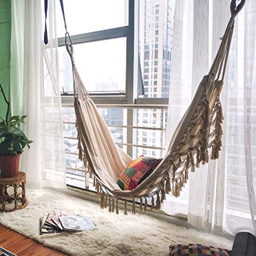 XSYYQYLL Ins Style 2 Person Hammock, Boho Große brasilianische Makramee Fringe Double Deluxe Hängematten-Schwingen Net Stuhl im Freien Innen Hängedeko (Color : 200x100cm)