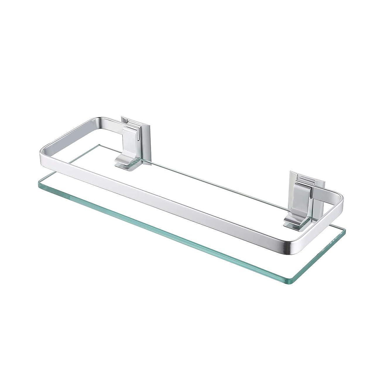 バースバッジ栄光のKES A4126A アルミニウム浴室ガラス長方形棚壁取り付け、銀砂吹付仕上げ 並行輸入品