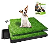 TUOKEOGO Dog Grass Pad with Tray, Puppy Potty Training Grass, Indoor Dog Potty with Training Guide-Medium Small Dog-25'x20'