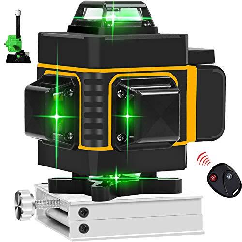 4x360 Croce Linea Verde Livello Laser 16 Linee di Alta Precisione Autolivellamento Strumento di Allineamento Base di Sollevamento Staffa Magnetica per Montaggio a Parete per Interno Esterno
