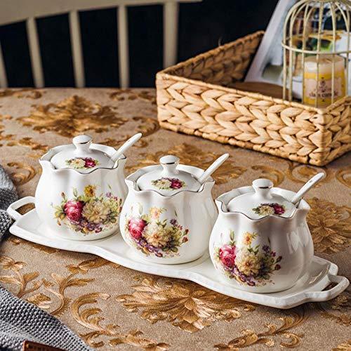 Keramische vaas keuken kruid gecombineerd pakket van Europese nationale tripartiete kruiden stijlvolle hoes suiker eetlepel zout,een afmeting,C