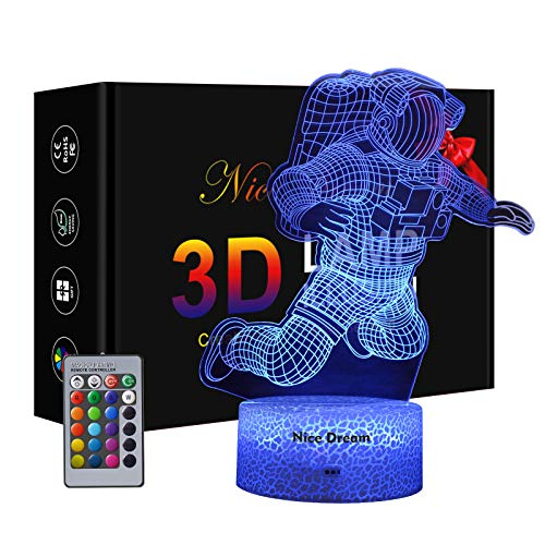 Astronaut 3D Lampe, Dimmbare 3D Nachtlicht 16 Farben Ändern Kinder Geschenke, 6 Jähriger Junge Geschenk Coole Geschenke Baby Junge Geschenk Weihnachten Geburtstag beste Geschenk Spielzeug für Kinder