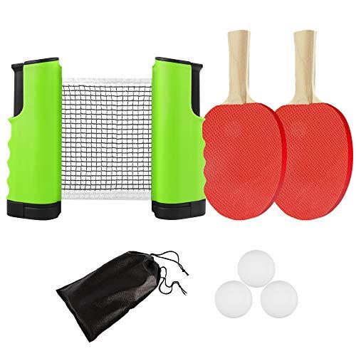 KIKILIVE Tischtennis Set, 2 Tischtennisschläger/Schläger + Ausziehbare Tischtennisnetze + 3 Ping-Pong Bälle, 1*Mesh Bag, tragbar Tischtennis-Set Spiel Für Anfänger, Familien Und Profis