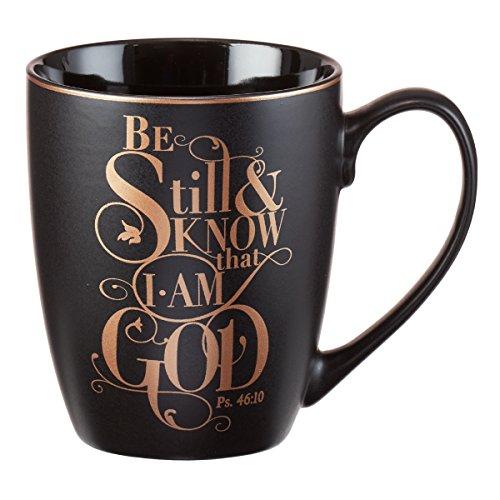 "Christian Encouragement Gifts for Women– Matte Black Coffee Mug w/Metallic Font Scripture Verses ""Be Still and..."