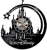 Lotus Reloj de Pared de Vinilo Schallplattenuhr Disney Castillo Diseño de Reloj de diámetro Arte Pared del Sitio de Familia del Vintage Decoración 30 cm