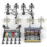 WWEI Juego de construcción de ingeniería de estación de autobús con linternas de lujo, 823 piezas, arquitectura Street View compatible con Lego