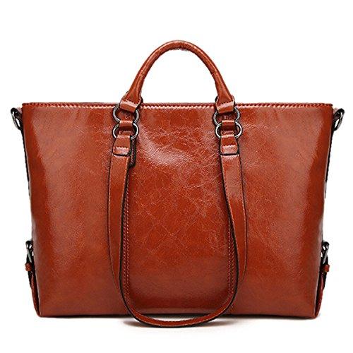 Handtaschen Damen,Charminer PU-LederUmhängetasche Schultertasche HenkeltascheShopping Bag Groß mitQuasten Für Freizeit/Schule/Büro Braun