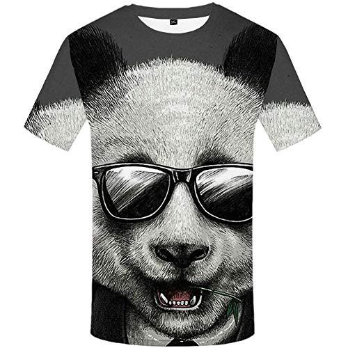 YAMAO Rundhals T- Shirt Homme,Sport, Animal Panda T-Shirt imprimé 3D Top décontracté à col Rond pour Hommes