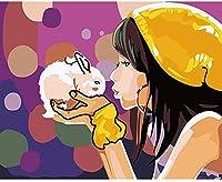 数字でペイントキット女の子とバニーキャンバス大人と子供のためのDIYアクリル画大人のためのペイントギフト子供アート家の装飾16x20インチ