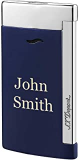 Personalized ST Dupont Slim 7 Single Torch Flame Lighter - Blue and Chrome with Free Laser Engraving