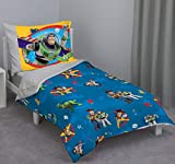 Disney Toy Story - Play Time - Blue, Yellow, Green, Red, Gray 4Piece Toddler Bed Set with Comforter, Flat Top Sheet, Fitted Bottom Sheet, Standard Size Pillowcase, Blue, Green, Red, Gray