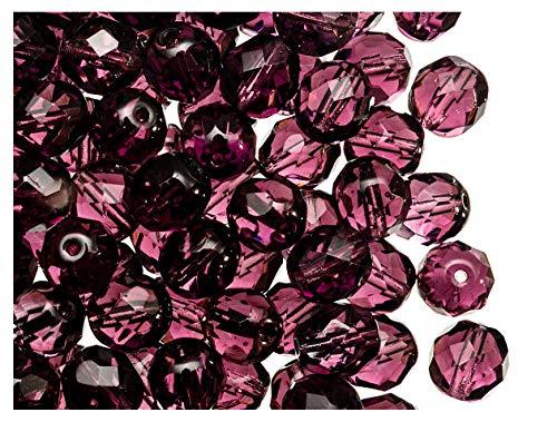 25 pcs Tchèque facettes perles de verre, Fire-Polished ronde 8 mm, Light Amethyst Purple