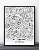 Leinwand Bild,Brasilien Sao Paulo Stadt Karte Wandbild