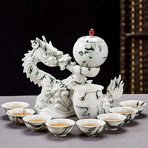 Chino de lujo automático de cerámica té conjunto hogar porcelana teaware perezoso portatil colador taza de vino conjunto té ceremonia suministros (A)