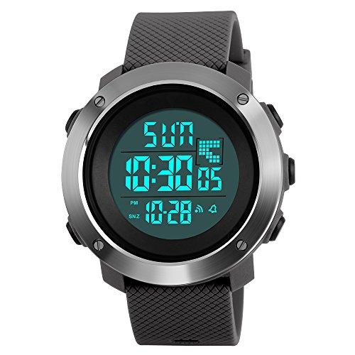 Reloj deportivo digital LED para hombre, electrónico, militar, resistente al agua, con alarma, cronómetro, doble zona horaria, cronógrafo, calendario de luz de fondo (grande, gris)