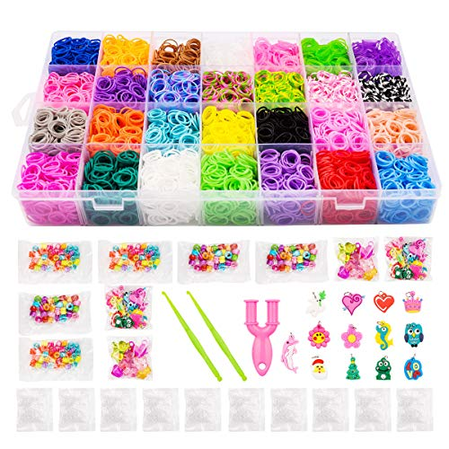 11500+Rubber Bands Kit, 10000 Loom Bands in 28 Colors, 500 S-Clips, 2 Y Looms, 180 Beads, 52 ABC Beads, 48 Charms, 2 Crochet Hooks,Super Bracelet Making Kits