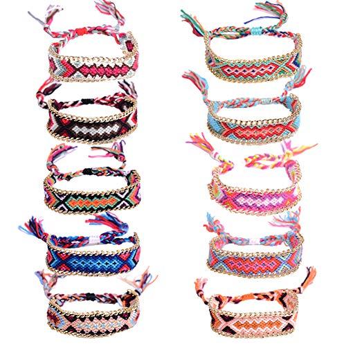 Gewebte Armbänder, 10 Stück Freundschaft Armbänder Bunte Armbänder Boho Freundschaftsbänder für Erwachsene und Kinder