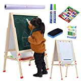 Kids Easel with Paper Roll, Height Adjustable Magnetic Chalk Board & Dry Erase
